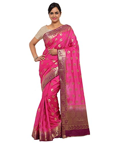 Varkala Silk Sarees Women's Raw Silk Paithani Saree With Blouse Piece_(ND1011RNJB_Pink & Purple) by Varkala Silk Sarees
