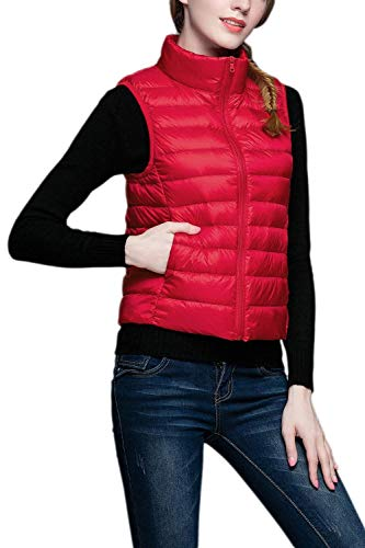 Vest with Red Coats Collar Elegant Pockets Fashion Sleeveless Zipper Cozy Coat Stand Women Slim Fit Jacket Down Solid Color Pingrog Winter Vest Front wSCFPqPIx