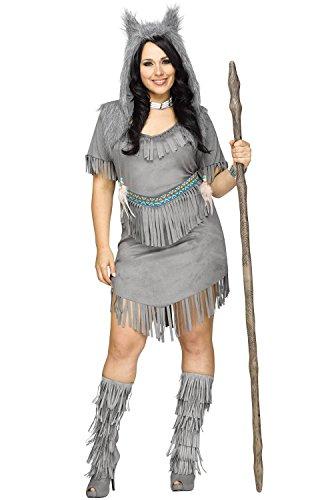 Fun World Women's Plus Size Wolf Dancer Costume, Grey, (Plus Size Wolf Costume)