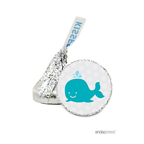 Andaz Press Chocolate Drop Labels Stickers Single, Baby Shower, Nautical Whale, 216-Pack, For Hershey's Kisses Party Favors, Gifts, Decorations, Birthday (Whale Stickers)