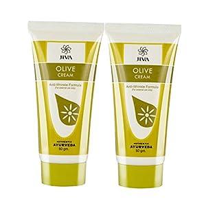 Jiva Ayurveda Olive Cream | Anti wrinkle | Anti acne | Anti aging | Skin look younger(50 gm)_Pack of 2