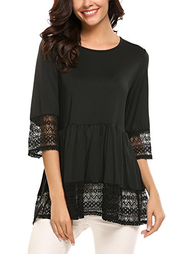 (SoTeer Womens Casual 3 4 Sleeve Cute Babydoll Ruffle Flare Lace Tunic Tops T Shirts Loose Blouse Black S)