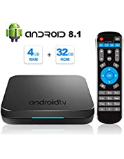 Android TV Box, KM9 Android 8.1 4GB DDR 32GB ROM Amlogic S905X2 CPU de Cuatro núcleos Arm Cortex-A53 Mail-G31 MP2 GPU soporta 2.4GHz y 5GHz WiFi 100M LAN Bluetooth 4.1