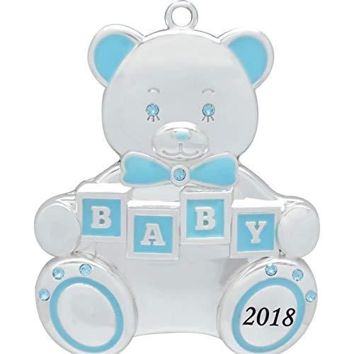 Boy Teddy Bear Ornament - Harvey Lewis 2018 Baby Boy Teddy Bear Baby's First Christmas (Engravable) Silver-Plated Ornament - Made 9 Swarovski Elements