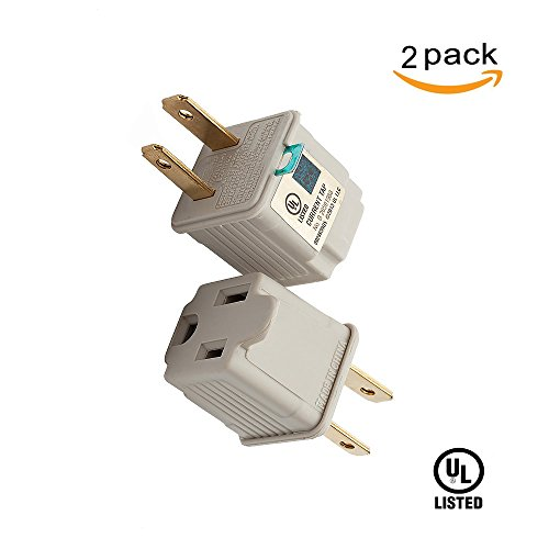 TENINYU Grounded Adapter 3-Prong to 2-Prong Outlet Converter (2 Pack) - 3 Pin to 2 Pin Plug Socket Adapter Extension for Electrical Cord, Household, Workshops, Industrial, Machinery-White