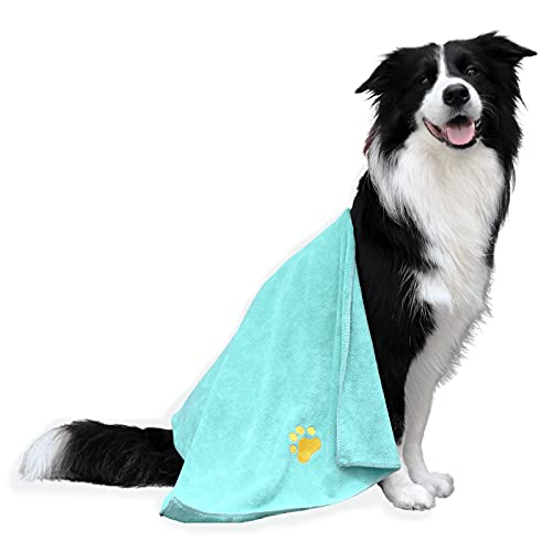 Dog Towel Microfiber Pet Towel Embroidered Paw Pattern Ultra-Absorbent Soft & Fast Drying Suitable for Dog Bathing Beach Travel Kennel Dog Crate, Large Size, 39.37 x19.69in