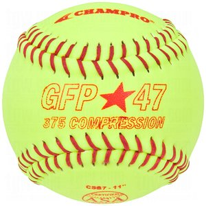 Champro Game ASA Fastpitch .47 COR, 375 Compression, Poly Synthetic Cover, Red Stiches (Optic Yellow, 12-Inch), Pack of 12 by CHAMPRO