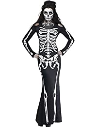 Women's Long Skeleton Dress Adult Halloween Costume