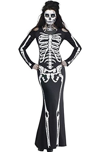 NuoReel Women's Long Skeleton Dress Adult Halloween Costume One Size Black (Scary Woman Halloween Costume)