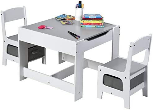 Costzon 3 in 1 Kids Wood Table & 2 Chair Set, Children Activity Table Desk Sets w/Storage Drawer, Detachable Blackboard for Toddlers Drawing Reading Art Playroom, 3-Piece Kid-Sized Furniture (Gray)