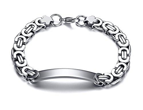 Bracelet Link Chunky (Personalized Stainless Steel Custom Engraved Chunky Byzantine Chain ID Tag Link Bracelet,8.6