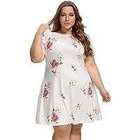OEUVRE Women's Vivid Floral Print Elegant Tunic Jersey Summer White Dress