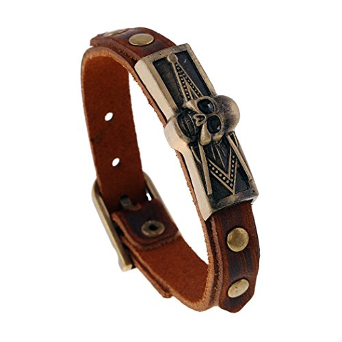 MORE FUN Vintage Style Metal Buckle Clasp Handmade Brown Leather Bracelet (Skull (France National Costume For Kids)
