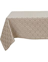Deconovo Modern Table Cloth Wrinkle Resistant Jacquard Morrocan Table Cover Spillproof Tablecloth for Kitchen 54x72 inch Dark Khaki