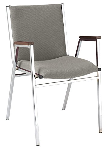 KFI Seating 421 Stacking Chair, Commercial Grade, 2-Inch, Gray Fabric, Made in the USA