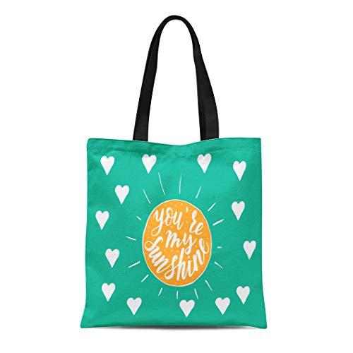 6bf24ff9a437 Semtomn Canvas Tote Bag Shoulder Bags Brush You are My Sunshine Handwritten  Quote Excellent Women's Handle Shoulder Tote Shopper Handbag