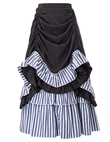 (Belle Poque Retro Striped Victorian Steampunk Skirt High Low Dickens Costumes SL105-2 2XL)