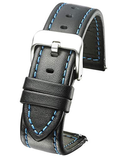(Genuine Waterproof Leather Watch Band with Quick Release Spring Bars - Black Leather Watch Strap 22mm - Blue Stitching )