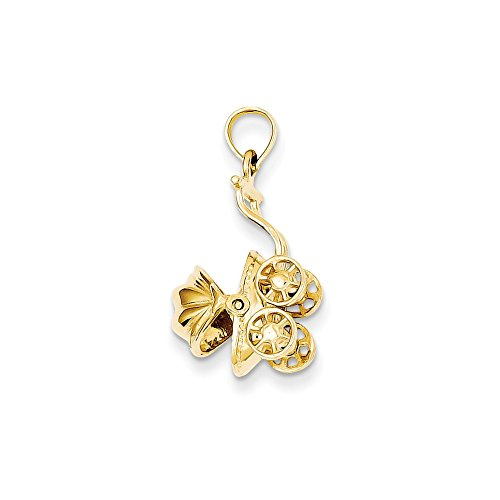 14k Gold Carriage - FB Jewels 14K Yellow Gold Baby Carriage Charm