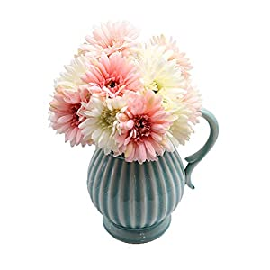 Gerbera Daisy,14 Pcs Artificial Flowers Silk Flowers Bouquets, Bride Bridesmaid Holding Flowers for Wedding Bouquet,Home Garden Party Wedding DIY Decoration (Pink and White) 100