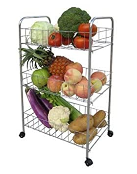 Premium calidad 3 Tier cromo cocina frutas verduras carrito de almacenamiento con: Amazon.es: Hogar