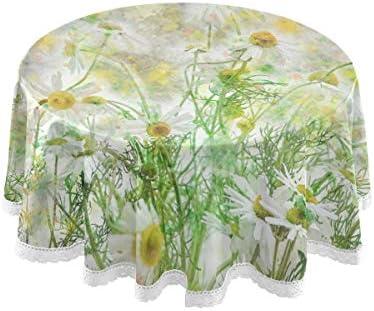 テーブルクロス 食卓カバー カモミール 花 水彩画 上品 緑 テーブルマット 円形 北欧 撥水加工 汚れ防止 家庭用 高密度 おしゃれ ポリエステル素材 直径150cm