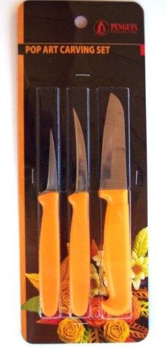 Thai Fruit and Vegetable Carving Knives, Pop Art Carve Knife. Set of - Thai Carving Fruit
