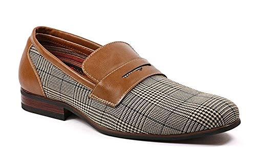 Ferro Aldo Men's 19371 Designer Plaid Print Slip On Penny Loafers Dress Shoes, Brown, 13 ()