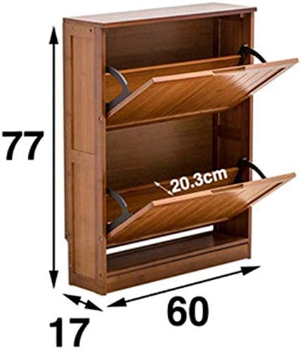 FF Portico Ultra-thin 2-layer natural bamboo shoe rack. Storage shelf together. (77 cm 17 cm 60 cm)