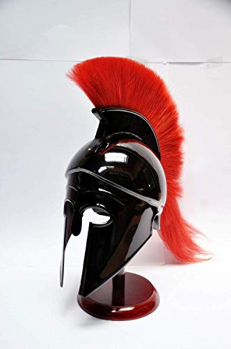 Greek Corinthian Helmet with Red Plume,Sca Armor Roman Armour Spartan Larp -