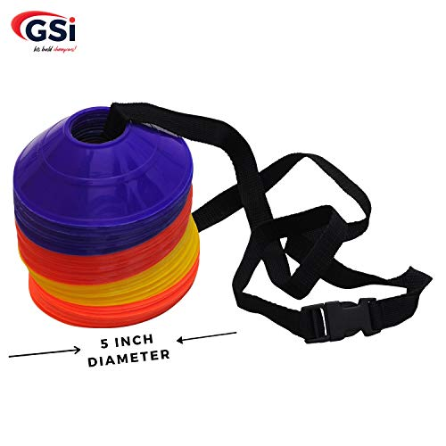 GSI Mini Soccer Cones Saucer Cones Disc Cones with Shoulder Strap for Agility Training, Football, Soccer, Field Cone Markers Price & Reviews