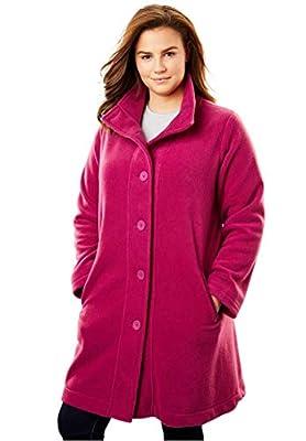 Woman Within Plus Size Fleece Swing Funnel-Neck Jacket