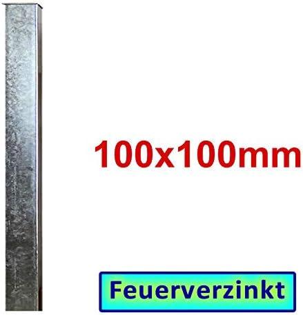 zum Einbetonieren L = 1300mm Zaun- Torpfosten VZ BAUER 100x100x3mm