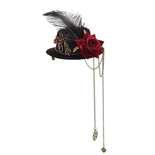 Halloween Accessories Mini Top Hat (GRACEART Steampunk Accessories Mini Top Hat for Women Headwear)