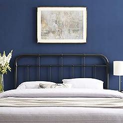 Bedroom Modway Alessia Modern Farmhouse Metal King Headboard in Black modern headboards