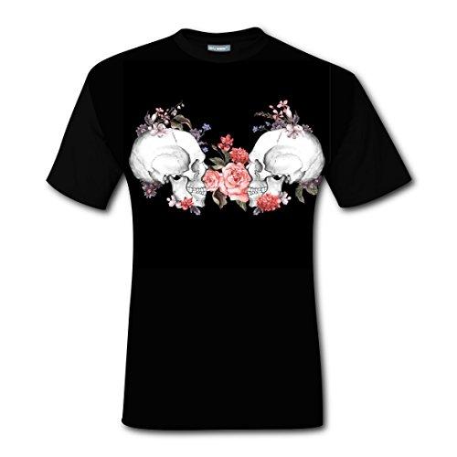 [Rose Skeleton Men's Tee Everyday Crew Neck Short-Sleeve Boys T-shirt XXL] (Cow Costume For Pregnant Women)