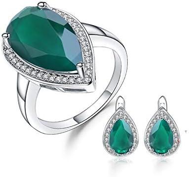 AdronQ® Juego de pendientes de ágata verde natural con juego de joyas con piedras preciosas vintage de plata de ley 925 con gota de agua real de plata de ley 925 para mujer
