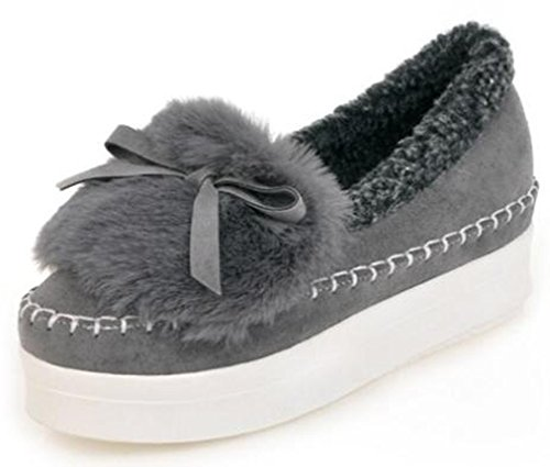 IDIFU Womens Comfy Bows Fleece Lined Mid Wedge Heels Winter Platform Shoes Thick Sneakers Gray vx41sDn