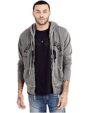 Men's Hoddie Full Zip w/ Patch Sweatshirt in Black