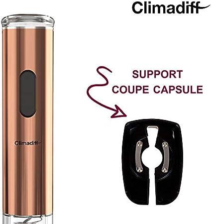 Climadiff TB5040 – Sacacorchos eléctrico – Color cobre – Abrebotellas automático portátil portátil – Cápsula integrada – Desatascar sin esfuerzo cualquier tipo de tapones