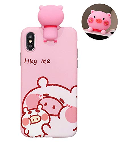 - UnnFiko Piglet Phone Case Compatible with iPhone X/iPhone Xs, Cute 3D Cartoon Animal Soft Silicone Protective Case for Girls Women (Hug me Piglet, iPhone X)