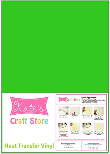 "Three (3) 12"" x 15"" sheets of Heat Transfer Vinyl (HTV) (Fluorescent Green)"