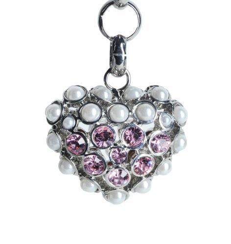 Lilly Rocket Pink Rhinestone and Pearl Puffed Heart Key Chain with Swarovski Crystals
