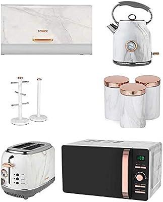 Oro Rosa & Mármol Blanco Torre Cocina Juego de 9 - Digital 20 ...