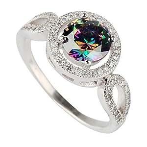 Get Plata 925 de la manera plateó el arco iris de cobre anillo de circonio . Multicolor