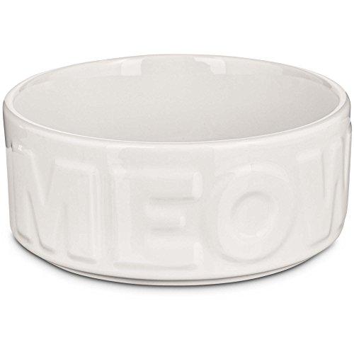 Harmony White MEOW Ceramic Cat Bowl, 3 Cups, Medium (Meow Cat Dish)