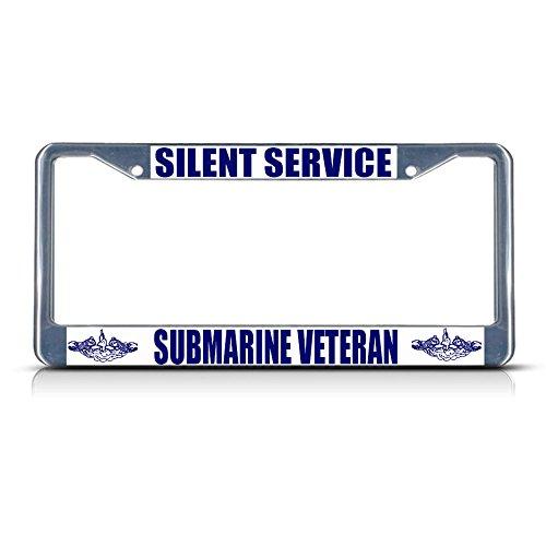 - Silent Service Submarine Veteran Navy Metal License Plate Frame Tag Border Perfect for Men Women Car garadge Decor