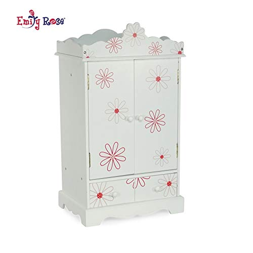 "Emily Rose 18 Inch Doll Closet for My Life Doll Clothes - Floral | Doll and Small Pet Clothes Storage | Doll 18"" Clothes Wardrobe 