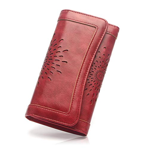 (APHISON Ladies Soft PU Leather Long Wallet Trifold Clutch Purse Credit Card Holder Case for Women With Gift Box 2214 (RED))