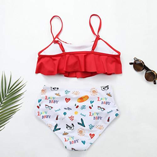 Kostenloser Versand LEXUPE Split Ruffle Print Bikini für Damen Frauen Zwei Stücke Badeanzüge Top Mit Hoher Taille Bottom Bikini Set Gekräuselt Rot j1TszKoM